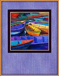 抽象油画小船风景装饰画