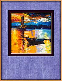 海湾风景油画装饰图