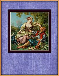 欧式花园情侣油画挂图