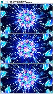 水彩鲜花绽放舞台背景视频
