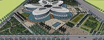 公共会展中心及广场设计skp模型