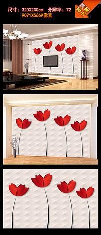 现代简洁软包立体花电视背景墙