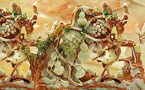 大气葫芦藤玉雕电视背景墙