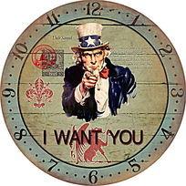 怀旧复古山姆大叔钟纸钟面设计