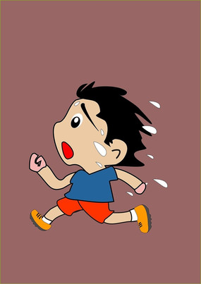 满头大汗奔跑的小孩插画