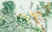 玉雕孔雀牡丹花开电视背景墙
