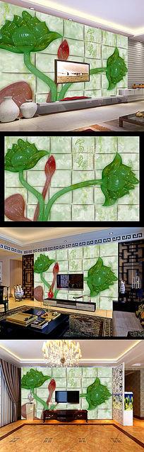 玉雕荷花图时尚瓷砖背景墙