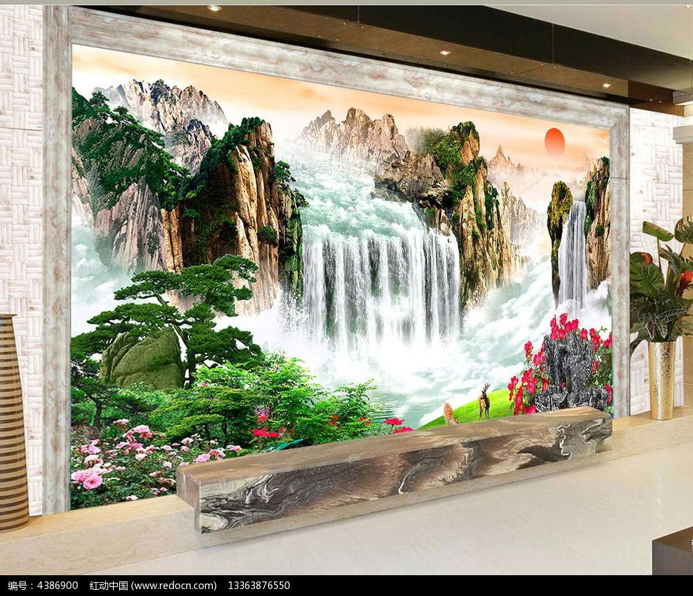 大气山水瀑布电视背景墙图片