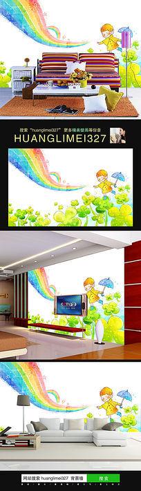 卡通儿童房彩虹四叶草背景墙壁画