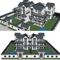 中式建筑大双拼住宅SketchUp模型