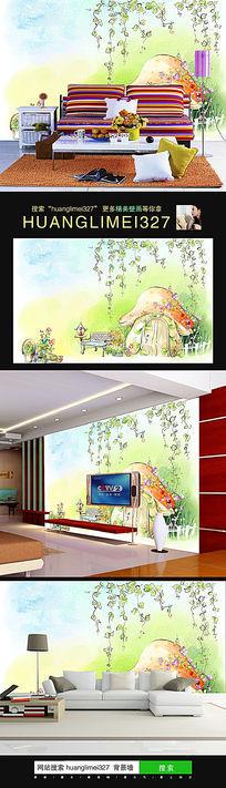 儿童房卡通小清新背景墙装饰壁画