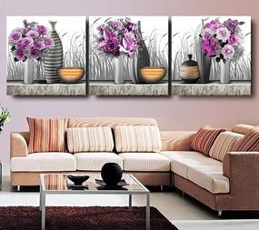 花瓶花朵三联无框画