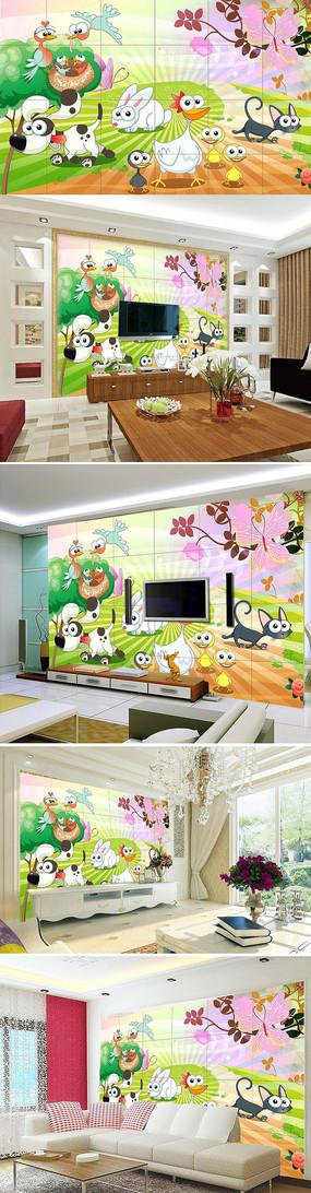 儿童乐园卡通动物背景墙