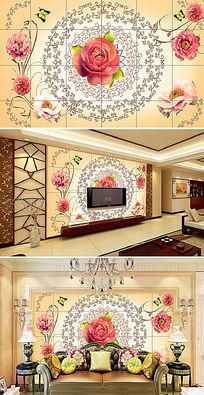 玫瑰花纹装饰背景墙
