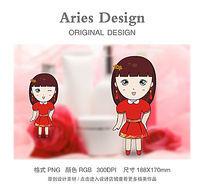 原创红裙女孩卡通形象图