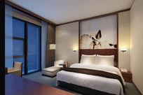 宾馆酒店双床夜景3d模型下载
