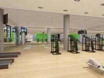 健身房跑步机区3d模型下载
