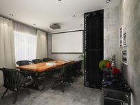 中式loft风格会议室3d模型下载