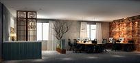 中式loft风格开放办公区3d模型下载