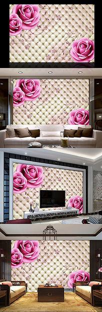 玫瑰花软包背景墙