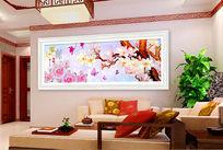 玉蘭花時尚客廳裝飾畫設計