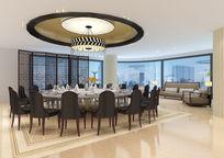 餐厅大包房3d模型下载