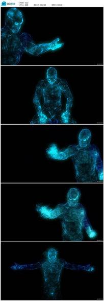 高清蓝色科幻粒子人LED背景视频