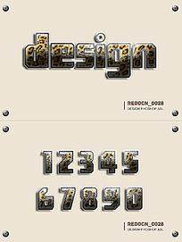 豹纹质感字体ps样式