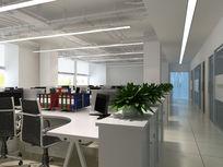 宽敞办公区3d模型下载