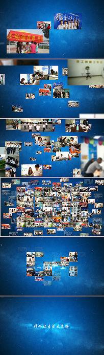 无数图片汇聚组成标志的片头视频AE素材