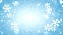 淡蓝色冬日雪花飘落循环视频背景素材