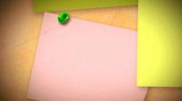 公告板上的便签纸张背景视频素材