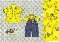 婴童可爱卡通背带裤矢量手稿背带裤设计