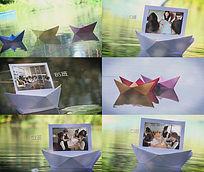 多彩纸船漂流图文视频实拍与后期合成ae素材模板