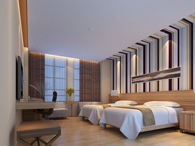 酒店标准间3d模型