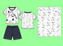 卡通童装T恤设计手稿CDR矢量 婴童家居服 童装T恤设计手稿