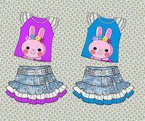 可爱卡通女童T恤设计稿 矢量牛仔童裙手稿