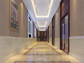 三层办公走廊模型