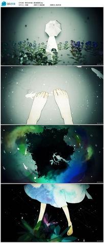 唯美水彩风格二维动画视频