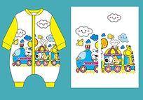 婴童睡袋款式矢量手稿 宝宝爬衣