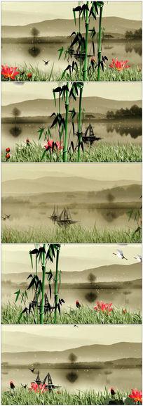 中国风水墨效果墨彩佳人动态视频