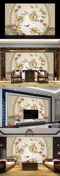 家和富贵中式边框书房背景墙