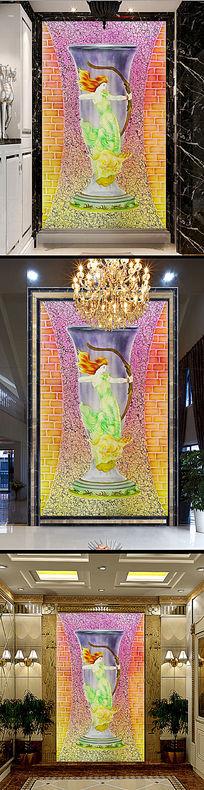彩雕美女花瓶瓷砖玄关装饰画