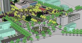 绿色植物广场公园SU模型