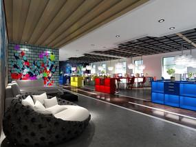 现代办公楼开放办公区3d模型下载