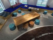 现代办公楼洽谈休息区3d模型下载