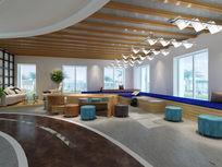 现代办公楼整体洽谈区休闲区3d模型下载