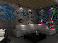 现代开放办公区休息区3d模型下载