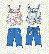 儿童牛仔裤吊带裙款式矢量手稿