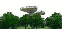 公园景观塔SU模型